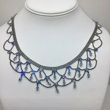Vintage Crystal Necklace Sapphire Blue and Clear Crystal Statement Bib Necklace