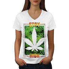 Wellcoda Stay Weed High Womens V-Neck T-shirt, Cannabis Graphic Design Tee