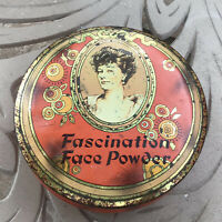 Fascination Face Powder Tin Made In England Daher Decorated Ware antique patina
