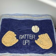 Pottery Barn Kids Batter Up! Blue Quilted Standard Sham Baseball