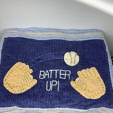 Pottery Barn Kids Batter Up! Blue Quilted Standard Sham Baseball