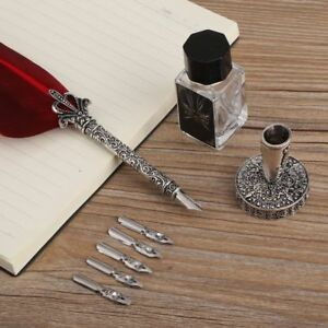 English Calligraphy Feather Dip Quill Pen Writing Ink Set Stationery 5 Nibs Red