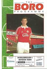 Football Programme - Middlesbrough v Swindon Town - Div 2 - 2/2/1991