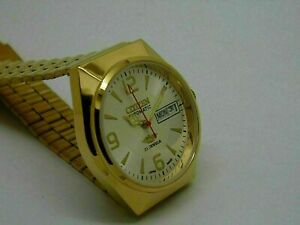 Citizen automatic Men's Gold Plated white Dial Vintage 21 Jewels Watch Run Order