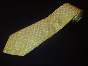 New Ermenegildo Zegna Tie Gold Blue Floral Satin Thick Designer Luxury Silk NWT