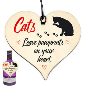 #1138 Cats Leave Paw Prints Plaque Sign Friend Wood Heart Rude Funny