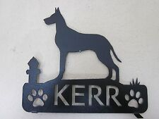 DOUBLE SIDE GREAT DANE MAILBOX TOPPER (NAME) TEXTURED BLACK POWDER COAT FINISH