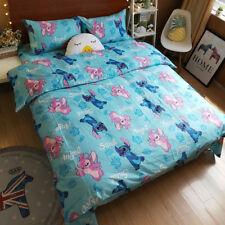 Stitch & Angel Cartoon Twin Queen Light Blue Bed Sheet 3/4pcs Cotton Bedding Set