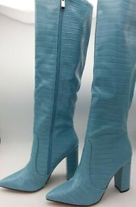 Givana Faux Leather Croc Block Heel Knee High Boot, Size 9.5- Blue