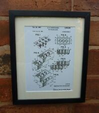 USA Patent Drawing vintage first toy LEGO building brick MOUNTED PRINT 1961
