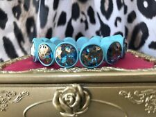 Betsey Johnson Glitter Reef Aqua Sea Speckled Gold Blue Stone Stretch Bracelet