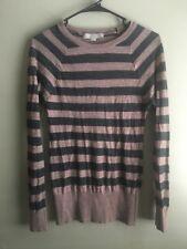 Ann Taylor LOFT Merino Wool Acrylic Blend Sweater Gray Grey Brown Stripe Sz S
