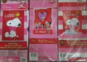 Snoopy & The Peanuts Gang Valentine Large Decorative Flag  28 x 40 --CHOOSE 1