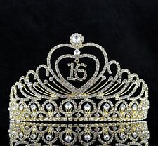 Sweet 16 Sixteen Birthday Party Rhinestone Tiara Crown W/ Hair Comb Gold T1g