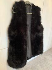 Black Fluffy Fur Gilet Waistcoat Size 10 12 14 BNWT *CHRISTMAS /  WINTER*