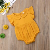 Newborn Baby Girls Ruffles Sleeve Romper Cotton Solid Princess Jumpsuit Outfits