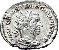 TREBONIANUS GALLUS 251AD Rome Rare Silver Ancient Roman Coin PIETAS i65373