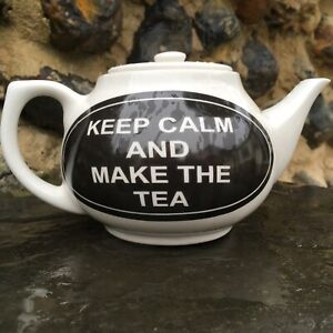 KEEP CALM AND MAKE THE TEA DESIGNS ON CHIP RESISTANT 2CUP SIZE CERAMIC TEAPOT