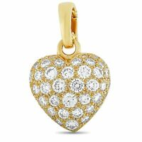 Cartier 18K Yellow Gold 1.30 ct Full Diamond Pave Heart Pendant