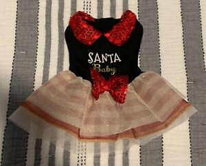 Holiday Tails Santa Baby Christmas Dog Puppy Apparel Sequin Party Dress XS