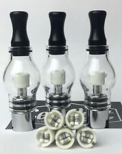 3 Replacement Dual Rod Glass Globe Atomizers With Ceramic Heating Coils 510 Coil