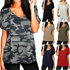 Plus Size 8-26 Womens Summer V Neck Loose T Shirt Casual Baggy Blouse Tee Tops