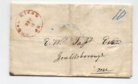 1844 Goose River Maine Red CDS on stampless folded letter [y3045]