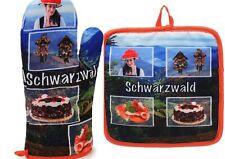 Schwarzwald Ofenhandschuh und Topflappen Kuckucksuhr Tracht 2er Set