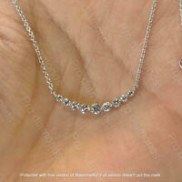 "1Ct Round Cut VVS1/D Diamond Bar Pendant Necklaces 14K White Gold Over 18"" Chain"