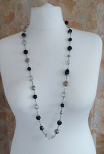 """Next Necklace Black, clear & silvertone beads chain flat Clasp to end chain 39"""""""