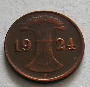 GERMANY - 1 REICHSPFENNIG - BRONZE 1924J - KM # 37