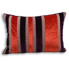 A pair of Carnival cushion covers in purple & paprika velvet stripes. 35 x 50cm