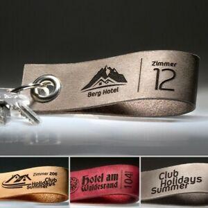 Hotel Schlüsselanhänger mit Gravur | Anhänger aus Leder mit individuellem Logo