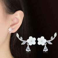 925 Sterling Silver Shell Flower Crystal Leaf Ear Stud Earrings For Women Gift