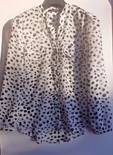 Atmosphere Ladies White/Black spotted long sleeve top blouse Size UK 12 / EU 40