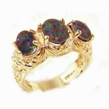 Solid 9ct Gold Natural Fiery Opal Triplet Art Nouveau Carved Large Trilogy Ring