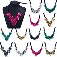 Women Statement Chain Choker Fashion Crystal Chunky Pendant Necklace Jewelry Bib