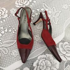 Red Leather Van Eli Slingback Pointed Toe Pumps Size 6.5