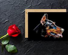 Doberman Greeting Card with Stunning Fractal Art Design