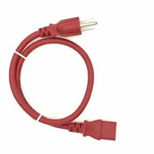 Red 2FT Universal 3 Prong AC Power Cord Cable 18AWG Computer Printer Monitor TV