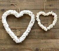 White Shell Heart Wreath Garland Decoration Gisela Graham Bathroom Nautical