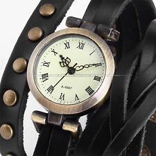 Women's Lady Vintage Retro Bronze Roman Dial Leather Bracelet Quartz Wrist Watch
