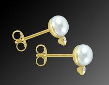 585 ECHT GOLD  *** Kleine Perlen Zirkonia Ohrstecker Ohrringe