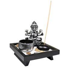 Small Desktop Zen Garden with Ganesh Statue Sand Rocks Incense