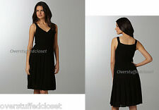 NWT $418 Eileen Fisher Refined Surplice Pleated Knee Length Dress Black XL
