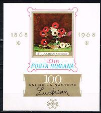 Romania Art Luchian Famous Painting Anemones Souvenir Sheet 1968 MNH