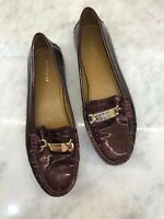 Coach Burgundy and Gold Loafers Patent Leather Women's 8.5 EUC