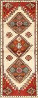 Vintage Tribal IVORY Abadeh Geometric Hand-Made Runner Rug Oriental Carpet 3'x6'