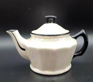 """Vintage Czechoslovakia White Lusterware w Black Miniature Teapot 4"""" high"""
