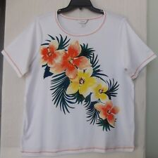 CJ Banks Plus Size 3X Hibiscus Floral knit top, short sleeve, yellow, orange NWT
